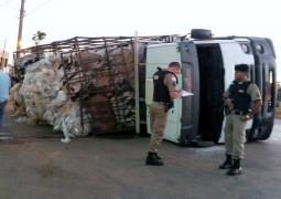 Caminhão tomba na entrada de São Gotardo