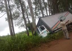 Caminhão perde o controle e sai da pista na BR-354 em São Gotardo