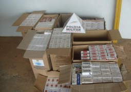 PM de Carmo do Paranaíba apreende mais de 480 pacotes de cigarros contrabandeados