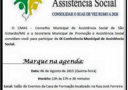 IX Conferência Municipal de Assistência Social será realizada em São Gotardo