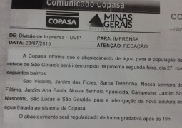 Após COPASA avisar interrupção de água em vários bairros de São Gotardo nesta segunda-feira(27), muitas casas ainda estão sem água desde o desligamento