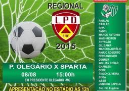Sparta enfrenta time de Presidente Olegário fora de casa em busca da liderança do Campeonato Regional