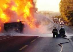 Grave acidente com carreta de lubrificantes deixa BR-262 interditada