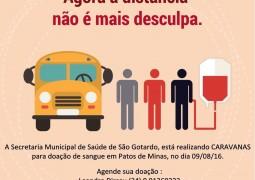 Secretaria Municipal de Saúde de São Gotardo realiza caravana para doação de sangue em Patos de Minas