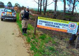 Polícia Militar Rodoviária instala faixas informativas na BR-354 entre os municípios de São Gotardo e Rio Paranaíba