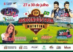 Agroindústria 2017 começa em Matutina e Thayná Bittencourt sobe no palco da Festa nesta sexta-feira