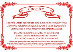 Igreja Cristã Maranata realizará Culto das Autoridades na Câmara Municipal de São Gotardo