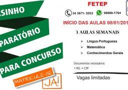 FETEP abre vagas para cursinho preparatório para concursos em São Gotardo