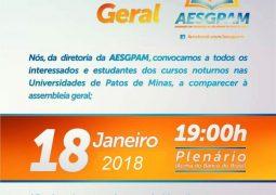 AESGPAM convoca estudantes das Universidades de Patos de Minas para Assembléia sobre o transporte para universitários