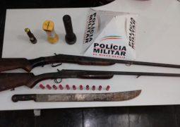 Após serem flagrados com armas, três pessoas são presas na zona rural de Rio Paranaíba