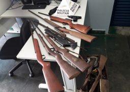 Durante ocorrência policial, PM de São Gotardo localiza e apreende seis armas de fogo