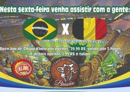 Brasil X Bélgica: Casa de Carnes Brasão oferecerá telão e open-bar de chopp durante o jogo desta sexta-feira