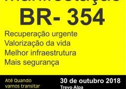 Populares que transitam diariamente na BR-354 marcam ato pacífico para cobrarem melhorias na rodovia
