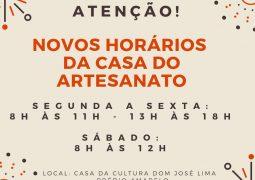 Casa do Artesanato divulga novos horários de funcionamento em São Gotardo