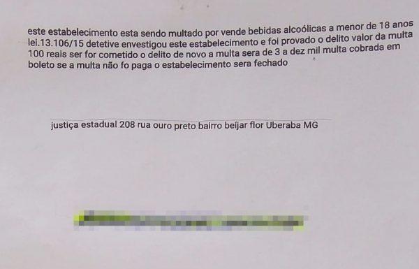 (Carta enviada ao comerciante) Foto Capa: Assessoria de Imprensa da Polícia Militar de São Gotardo
