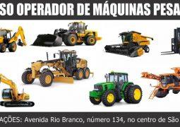 Inscrições abertas: Curso de OPERADOR DE MÁQUINAS PESADAS em São Gotardo