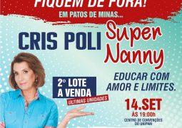Cris Poli do reality show Super Nanny, realiza palestra em Patos de Minas em Setembro