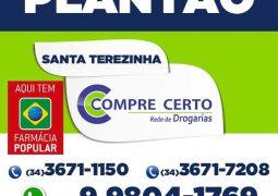 Farmácias de plantão em São Gotardo. Drogaria Santa Terezinha é uma delas