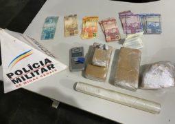 Com ajuda de cão farejador, PM encontra drogas e uma pessoa é presa em São Gotardo