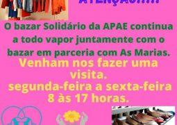Comprar e contribuir! Venha conferir o Bazar Beneficente da APAE de São Gotardo